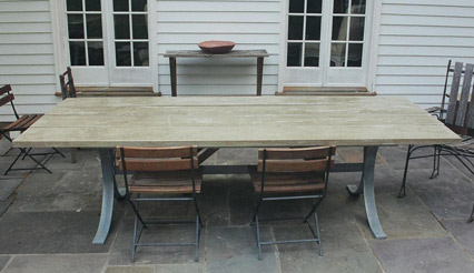 (Indoor/Outdoor) Steel Arched Table w/ Concrete Planks