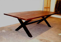 (Indoor/Outdoor) Copper Top Picnic Table with Bronze Base