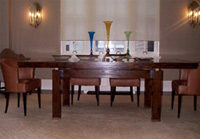 Mahogany Dining Table w/ Brass Details
