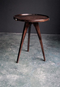 Figured Maple Tripod Table with Removable Tray Top