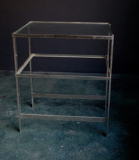 Moses Table - Polished Nickel w/ Glass Shelves